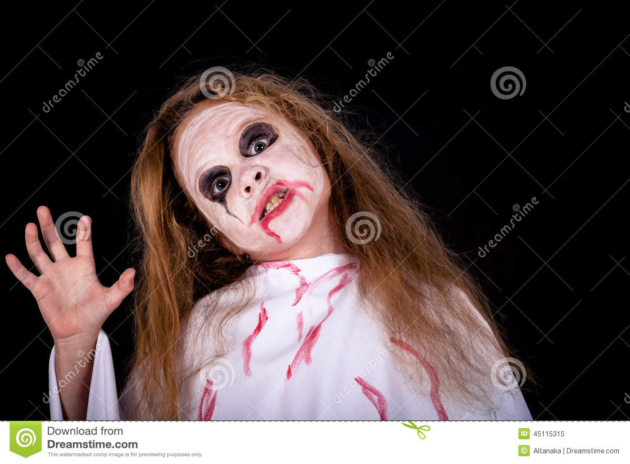 Teen Girl In Costume On Zombie Stock Image Image Of Happy