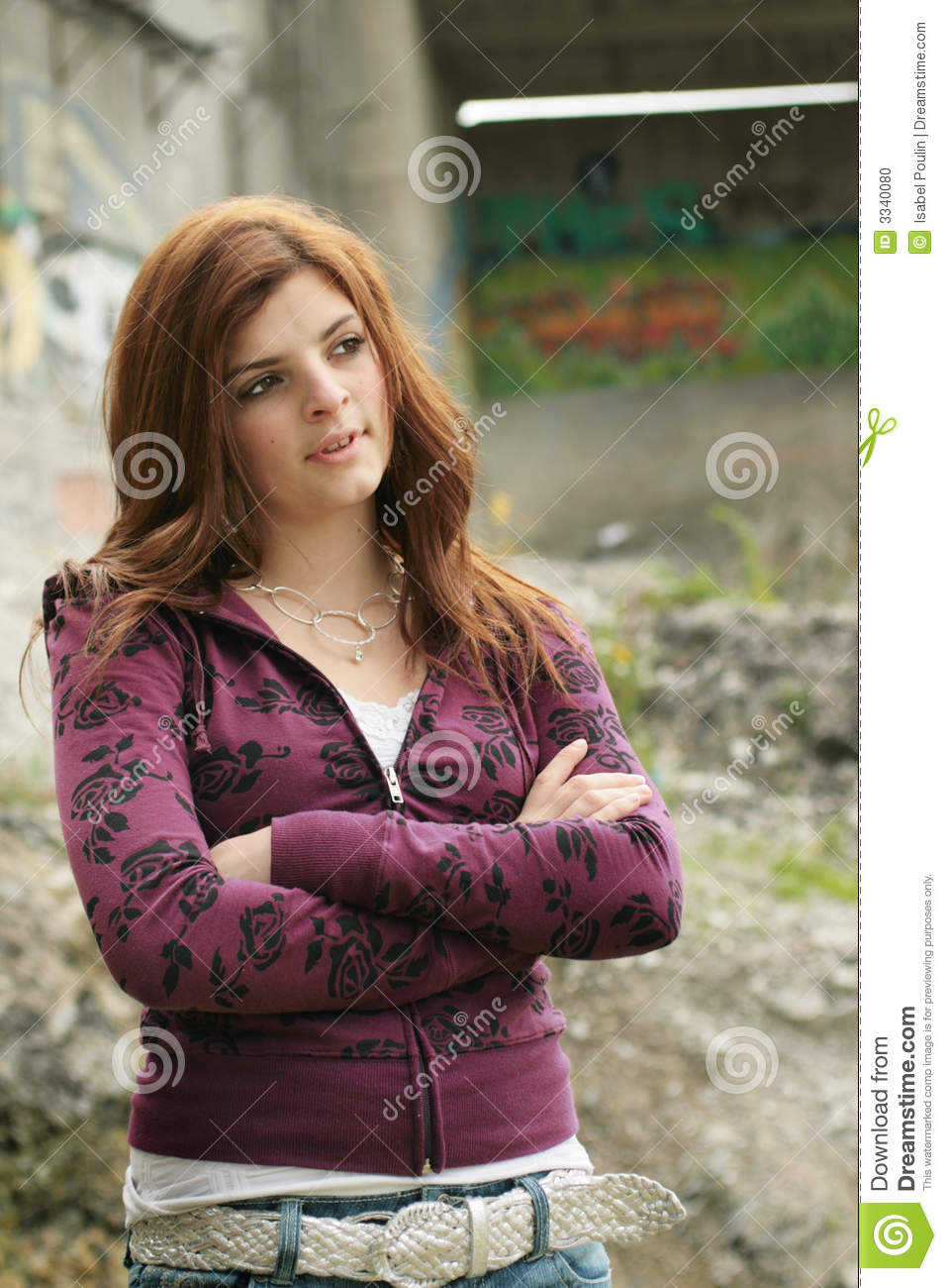 Teen Girl With Crossed Arms Stock Photo - Image: 3340080
