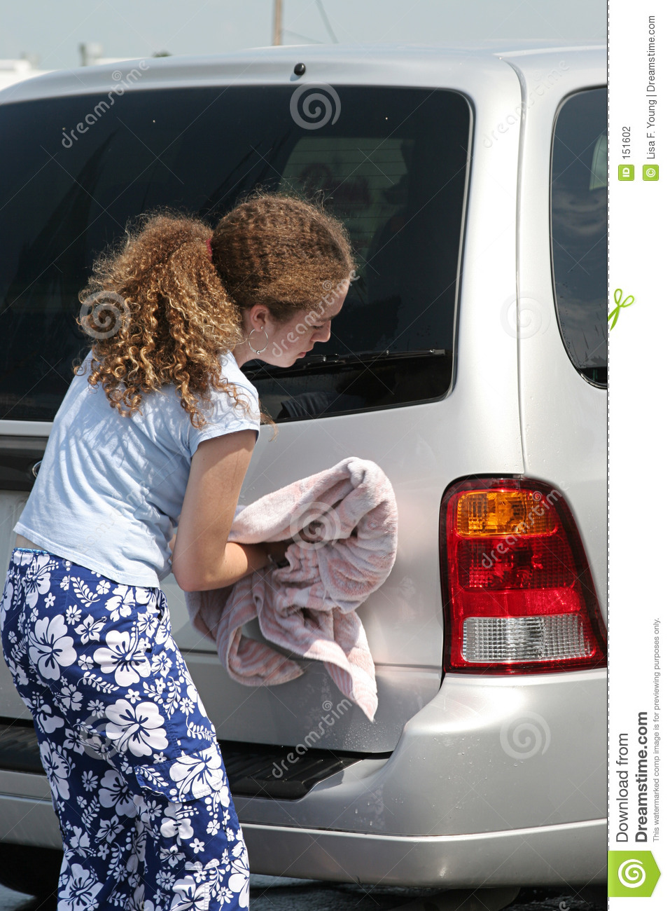 How To Buff A Car >> Teen Girl Drying Car stock photo. Image of taillight ...