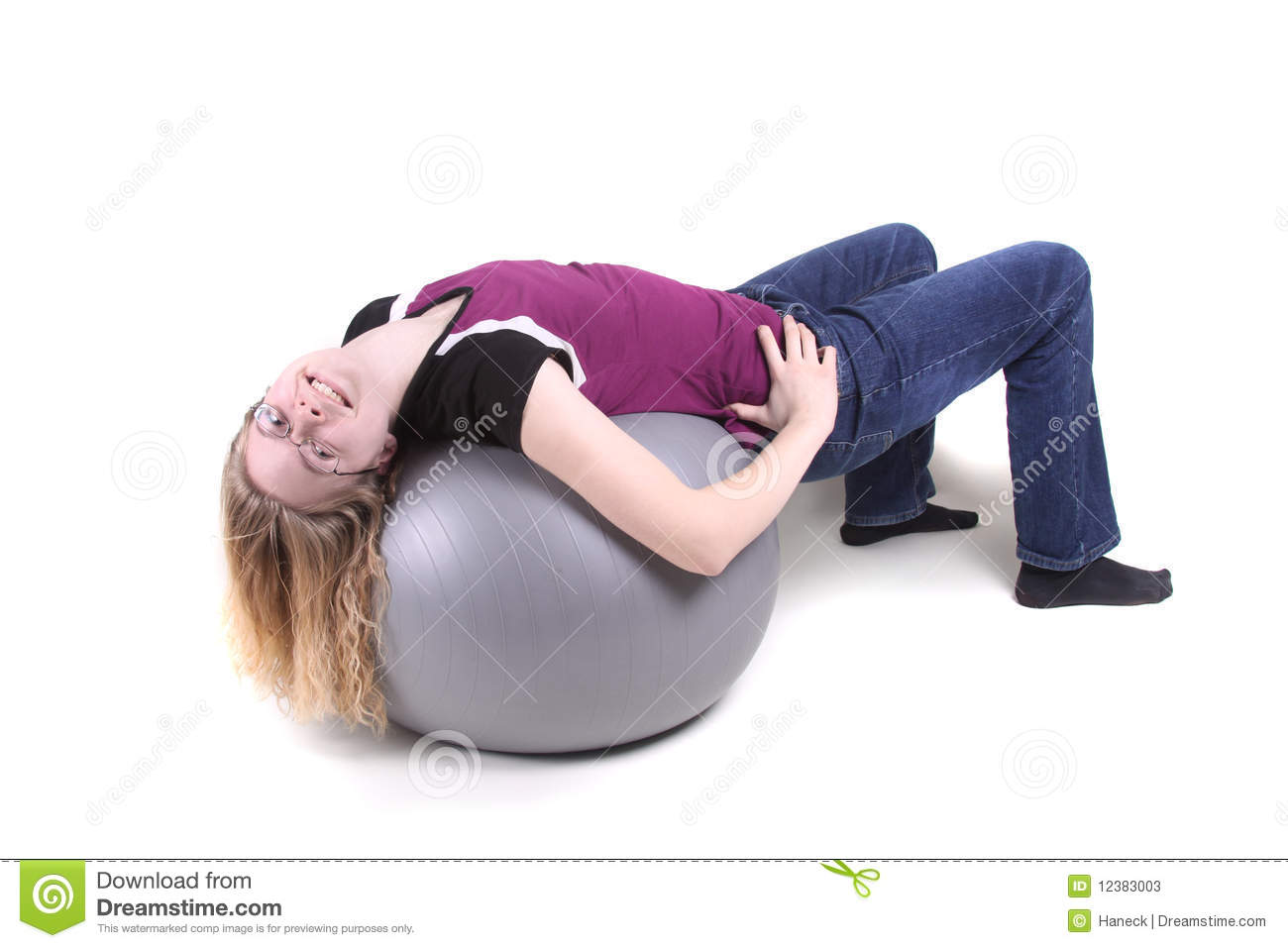 Valuable teen on yoga ball accept
