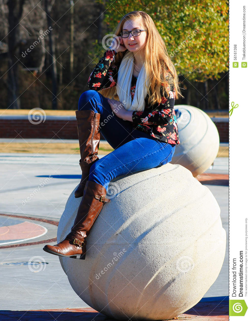 Teen Girl Fall Boots Stock Photo Image 56161398