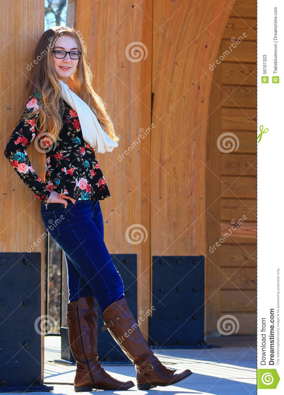 Teen girl-fall fashion 3 stock image. Image of confident - 56161323