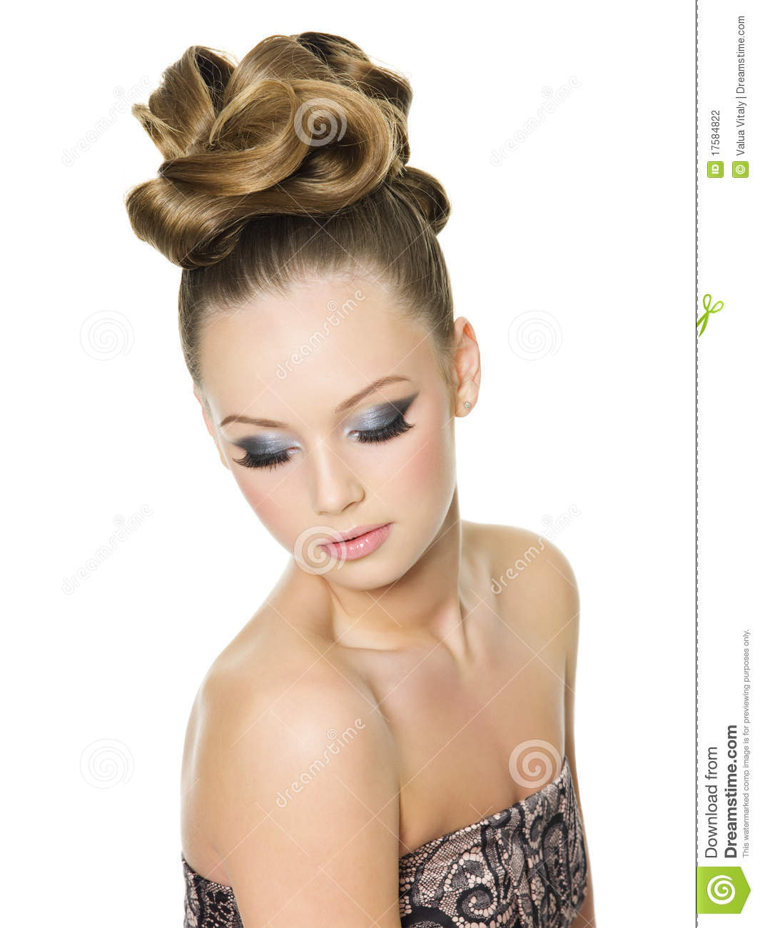 Teen Girl With Fashion Hairstyle And Make Up Stock Photo Image Of Modern Caucasian 17584822