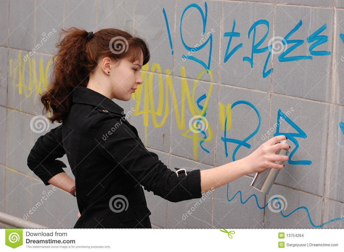 Teen girl and graffiti