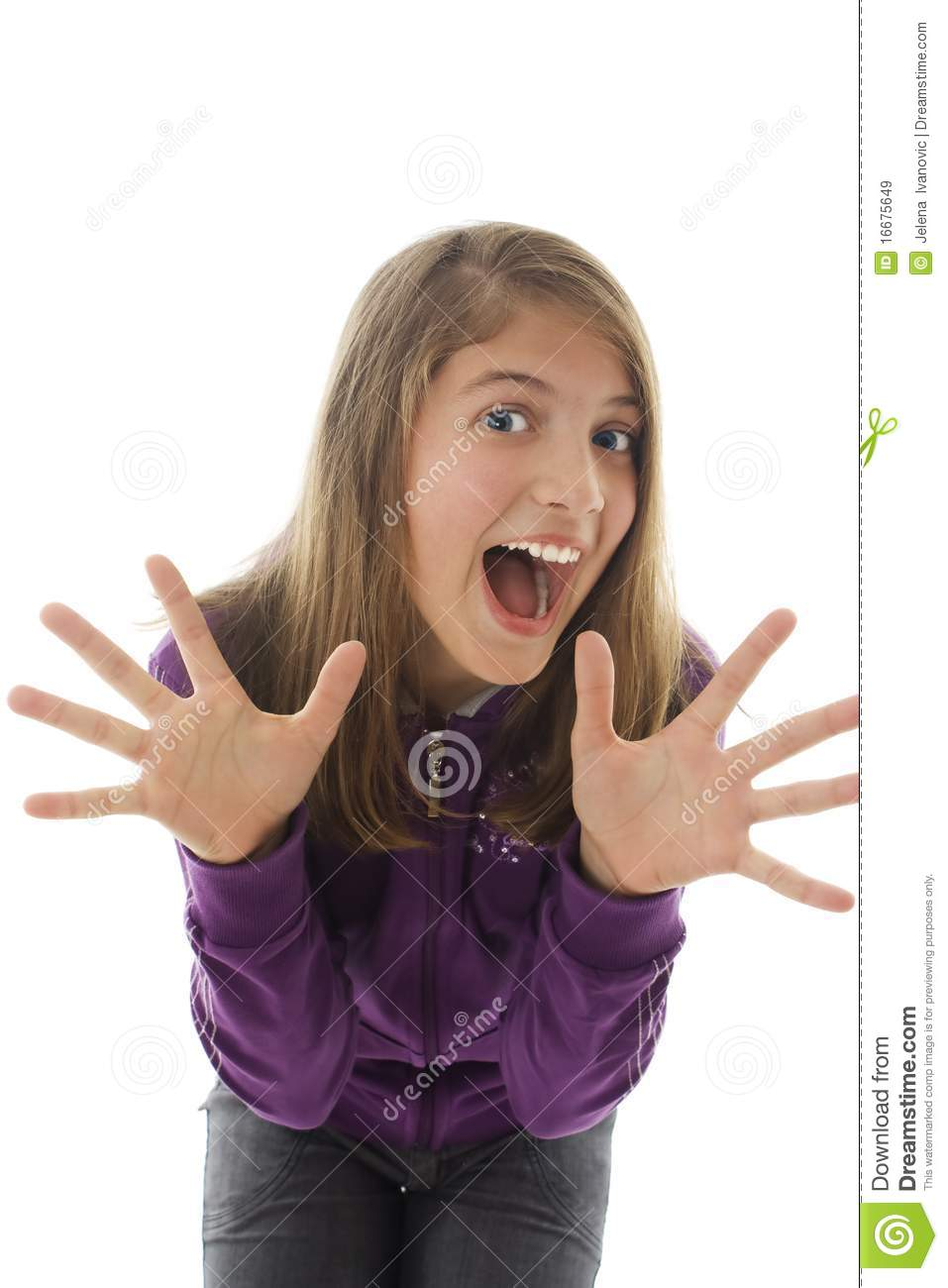 Teen girl with hands up portrait royalty free stock images Tiny girl teen