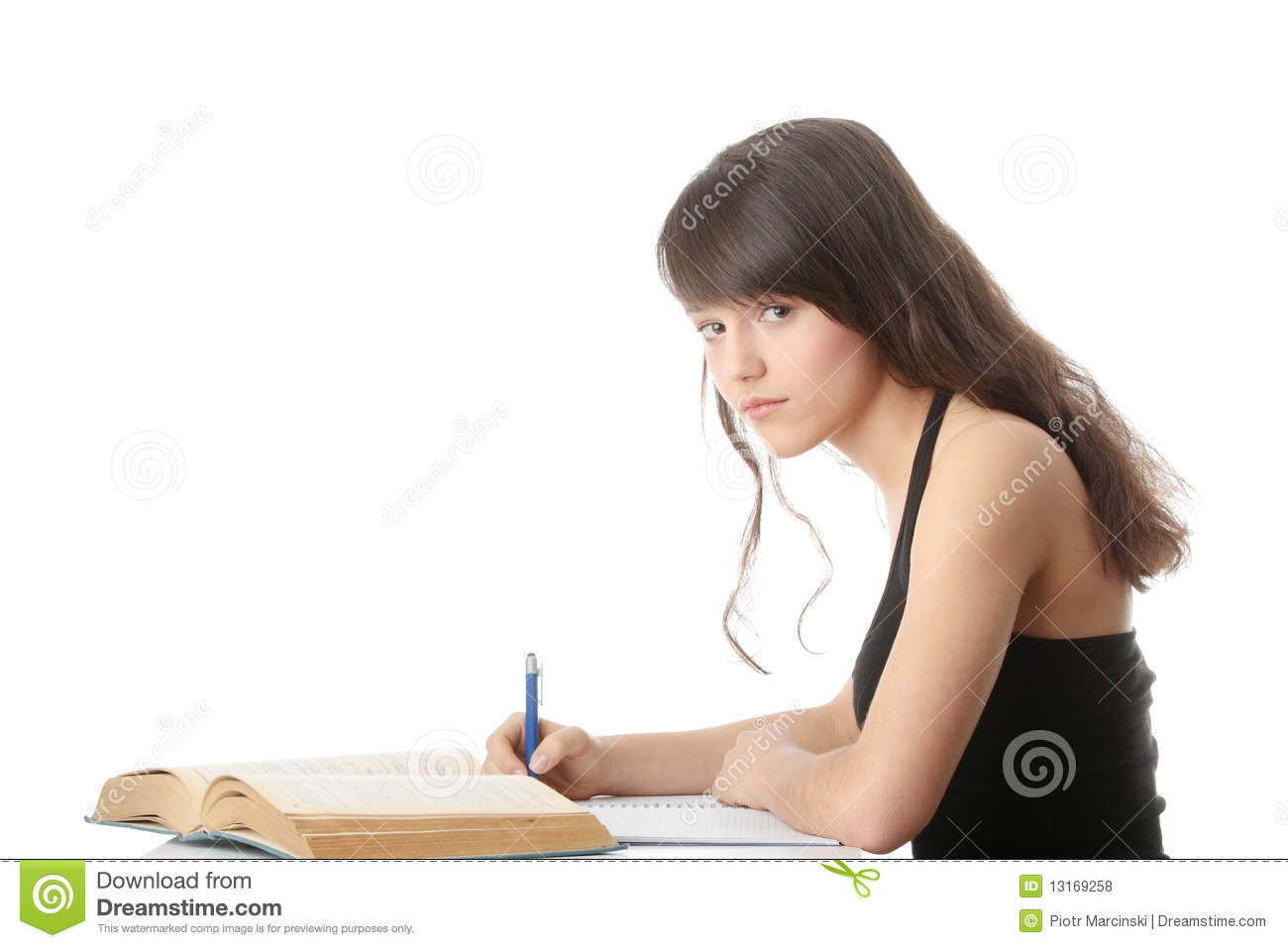 teen girl learning at the desk royalty free stock photos