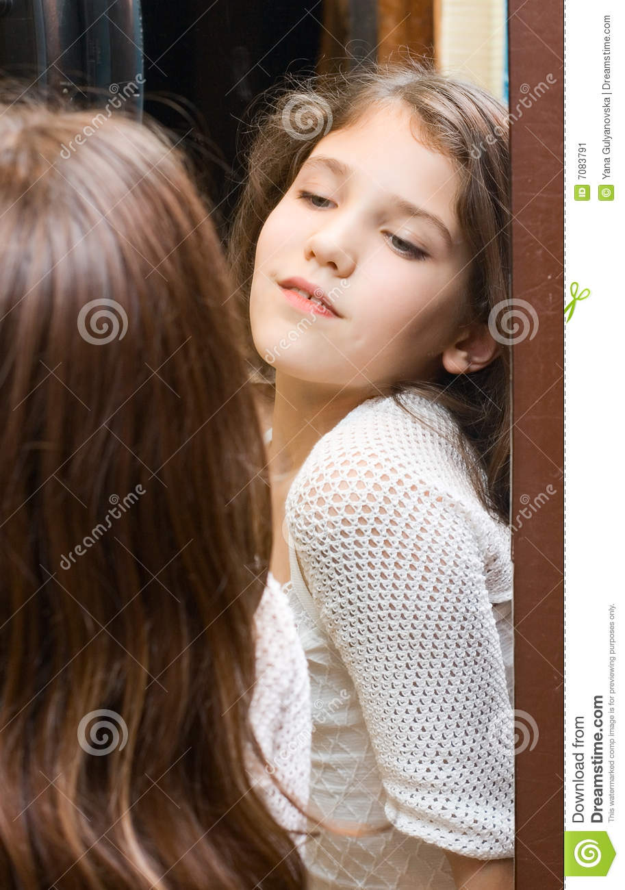 Teen Girl Look At Mirror Stock Image Image Of Reflex