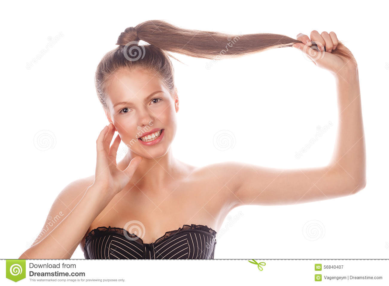 Puperty ) nude Teen Girl with nude makeup is holding her hair. Royalty Free Stock  Photography