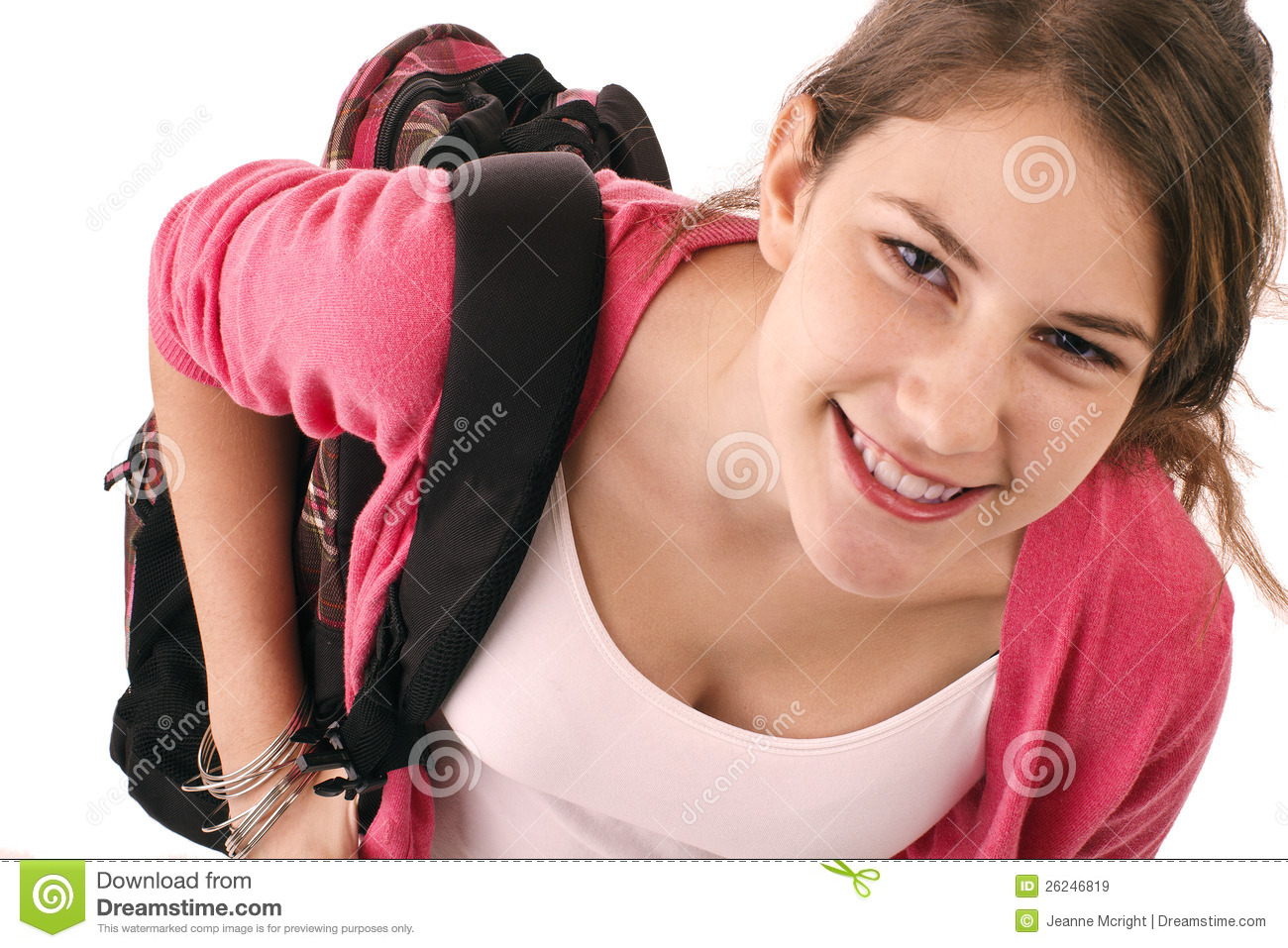 Teen Girl With Pink Sweater And Backpack Royalty Free