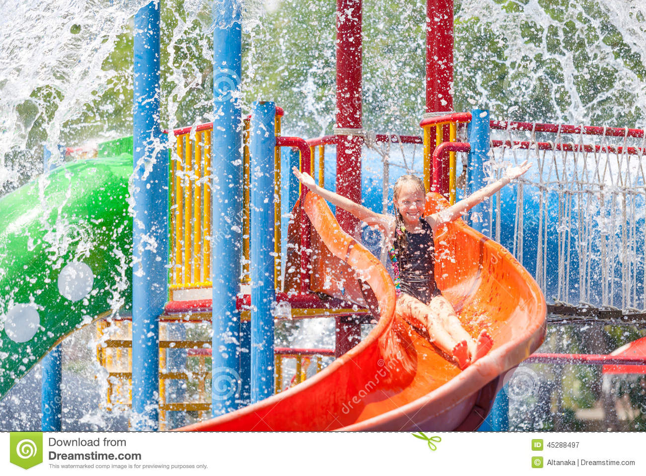 Teen Girl Playing In The Swimming Pool On Slide Stock Image Image Of Happiness Having 45288497