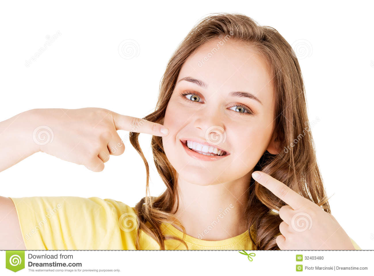Teen Girl Pointing On Her Perfect Teeth Stock Photo - Image Of Healthy, Breath 32403480-1723