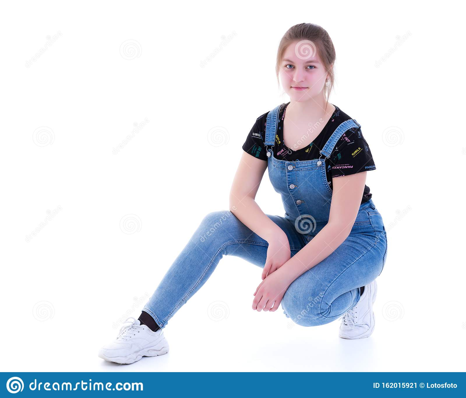 Teen Girl Posing On The Floor In Studio Concept Of Styl Stock Image Happiness Pose 162015921