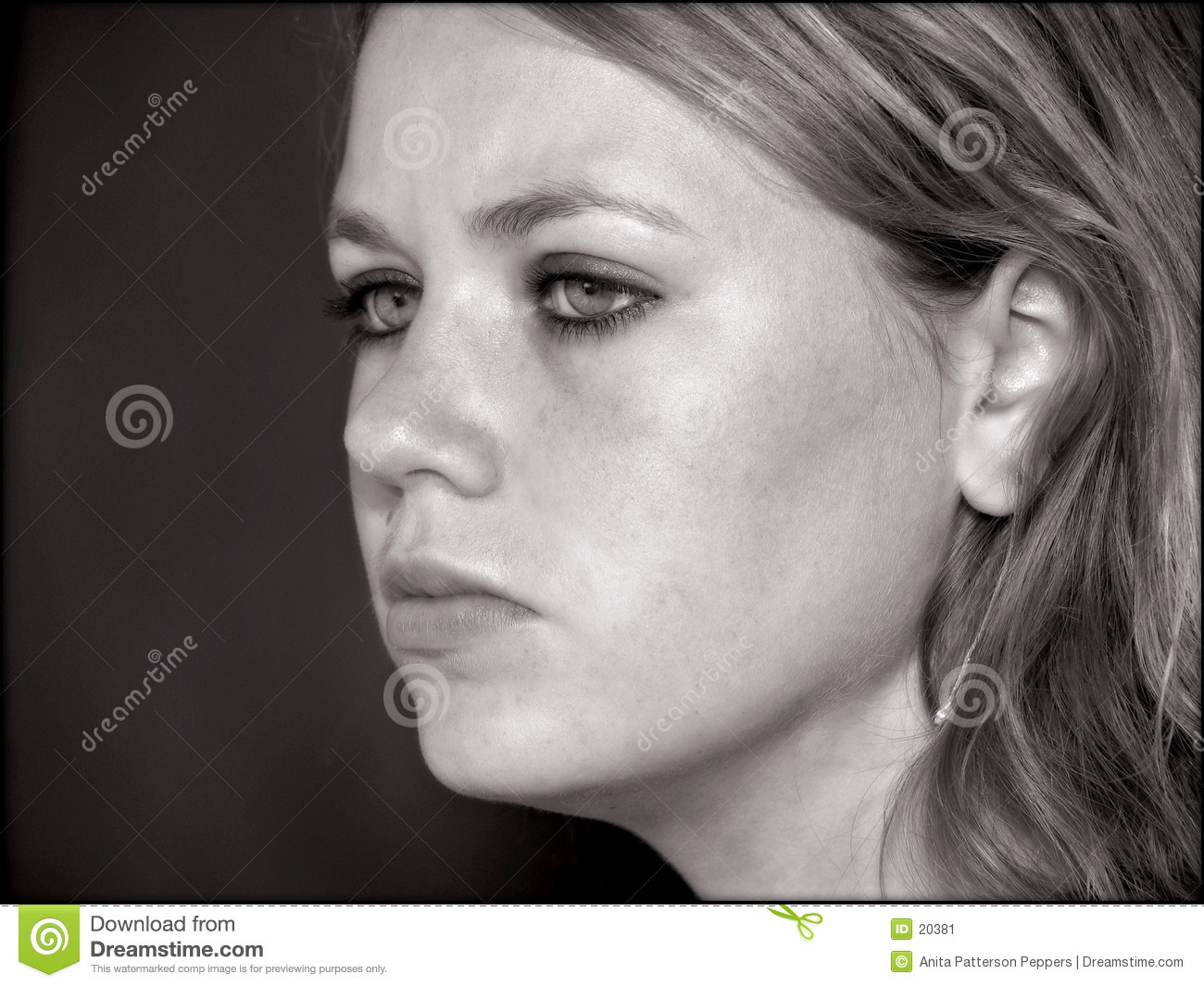 Teen girl s face in black and white