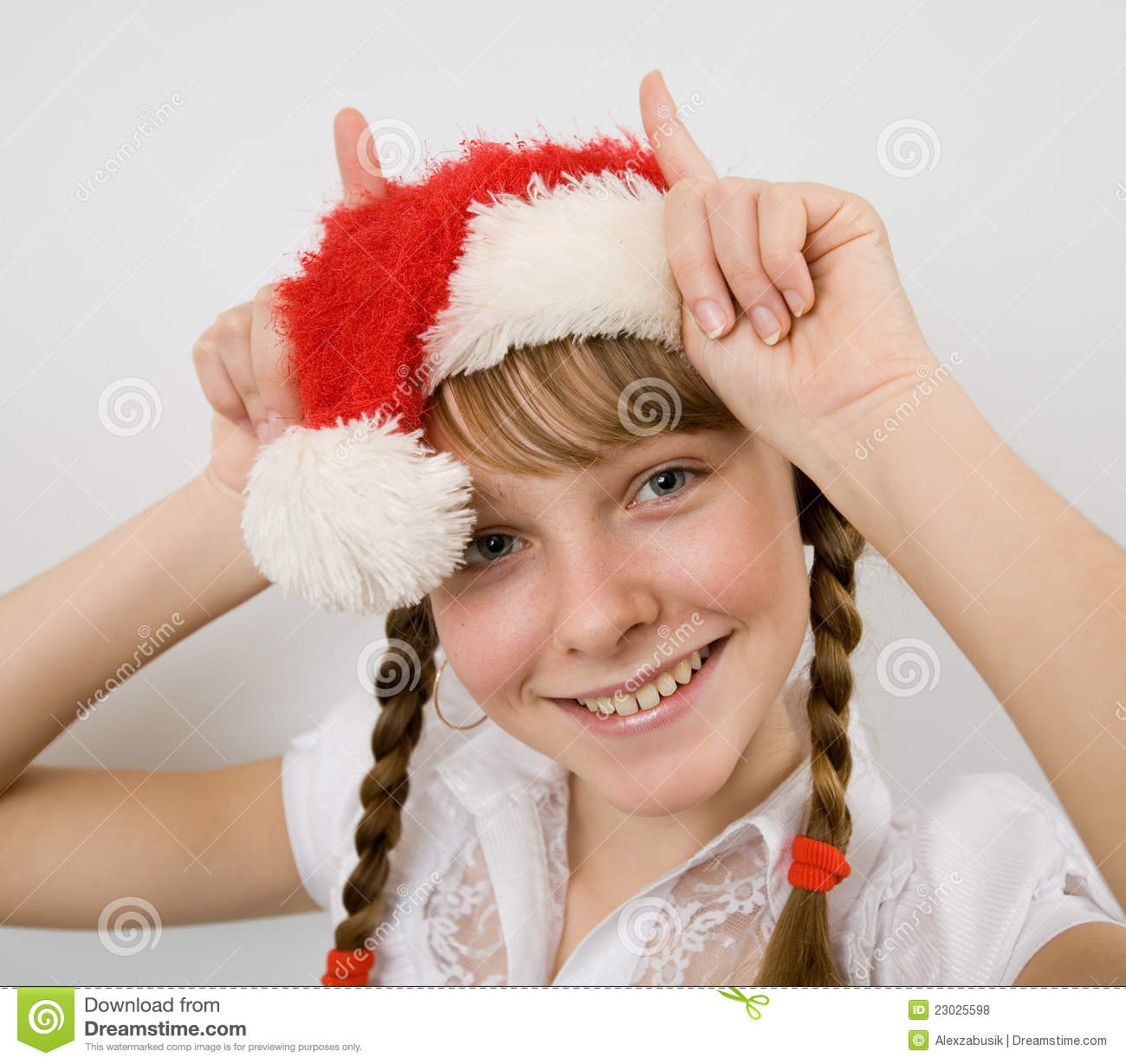Teen Girl In Santa Hat Stock Photo Image Of Hands -2009