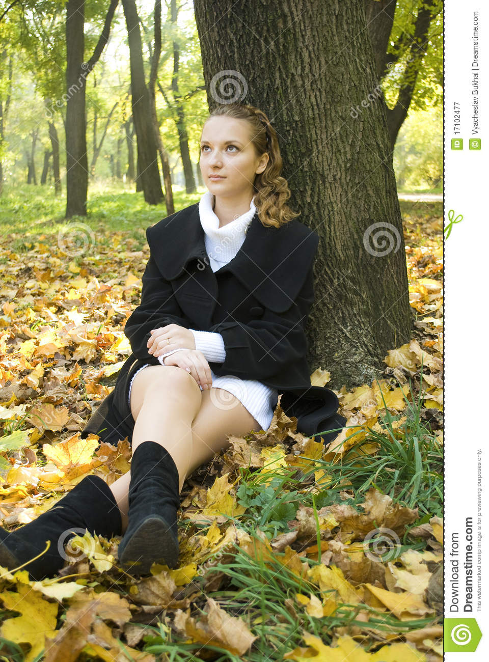 Teen Girl Sits Under The Tree In Autumn Park Royalty Free