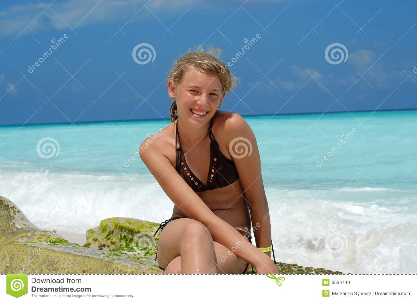 Teen girl sitting on beach stock photo image 3536740 - Teen age girl picthar ...