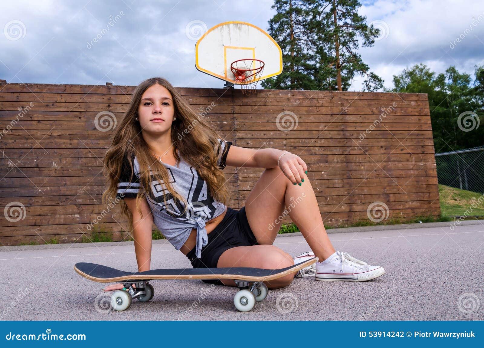 Teen Girl With Skateboard Stock Photo - Image: 53914242