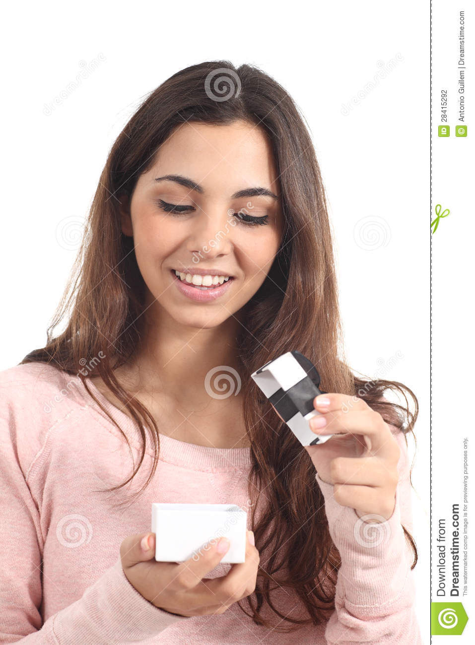 Teen Girl Smiling Opening A Gift Box Stock Photography ...