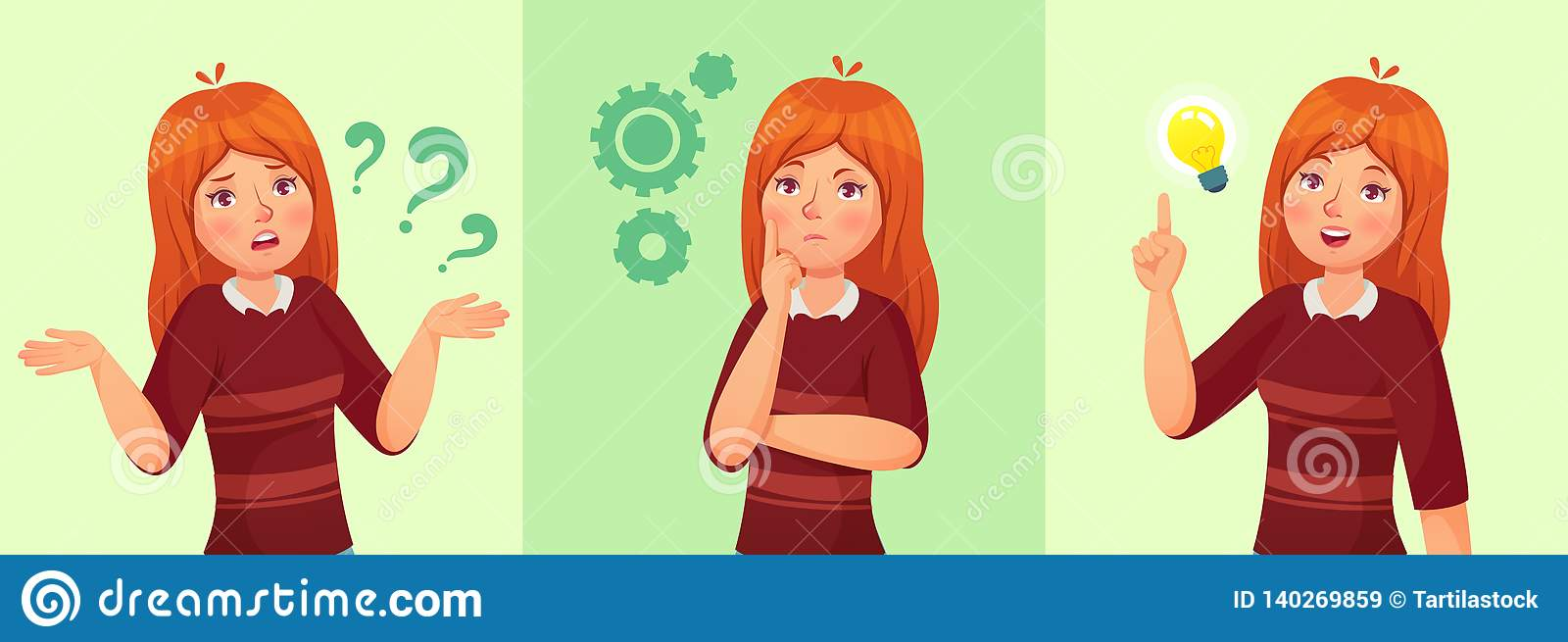 Teen girl think. Confused young female teenager, thoughtful girl student and answering question vector cartoon
