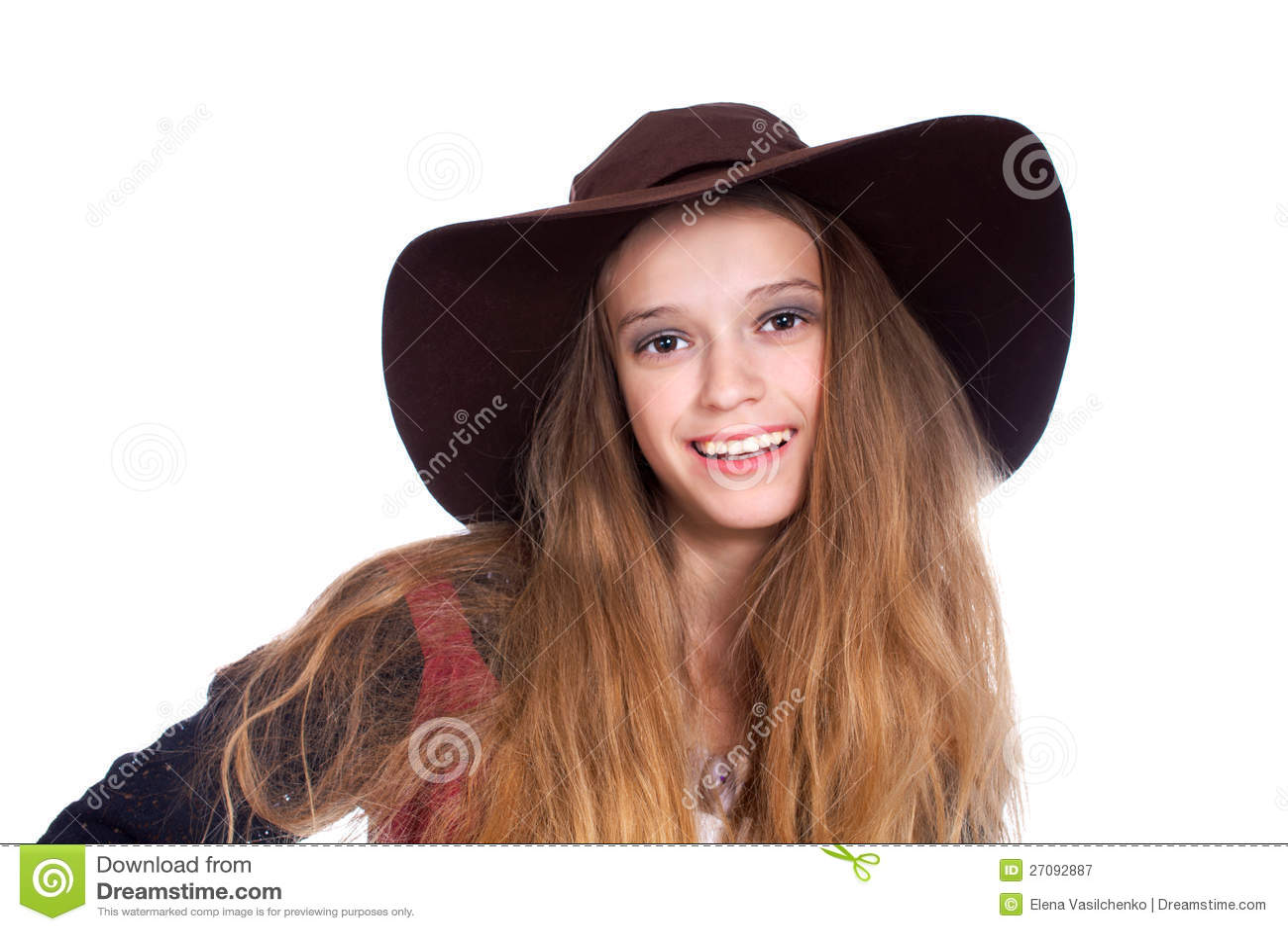 Teen Girl Wearing Dark Brimmy Hat Royalty Free Stock