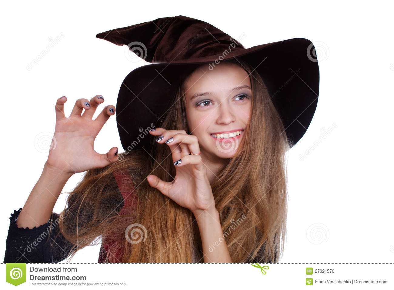 Download comp  sc 1 st  Dreamstime.com & Teen Girl Wearing Halloween Witch Costume Stock Photo - Image of ...