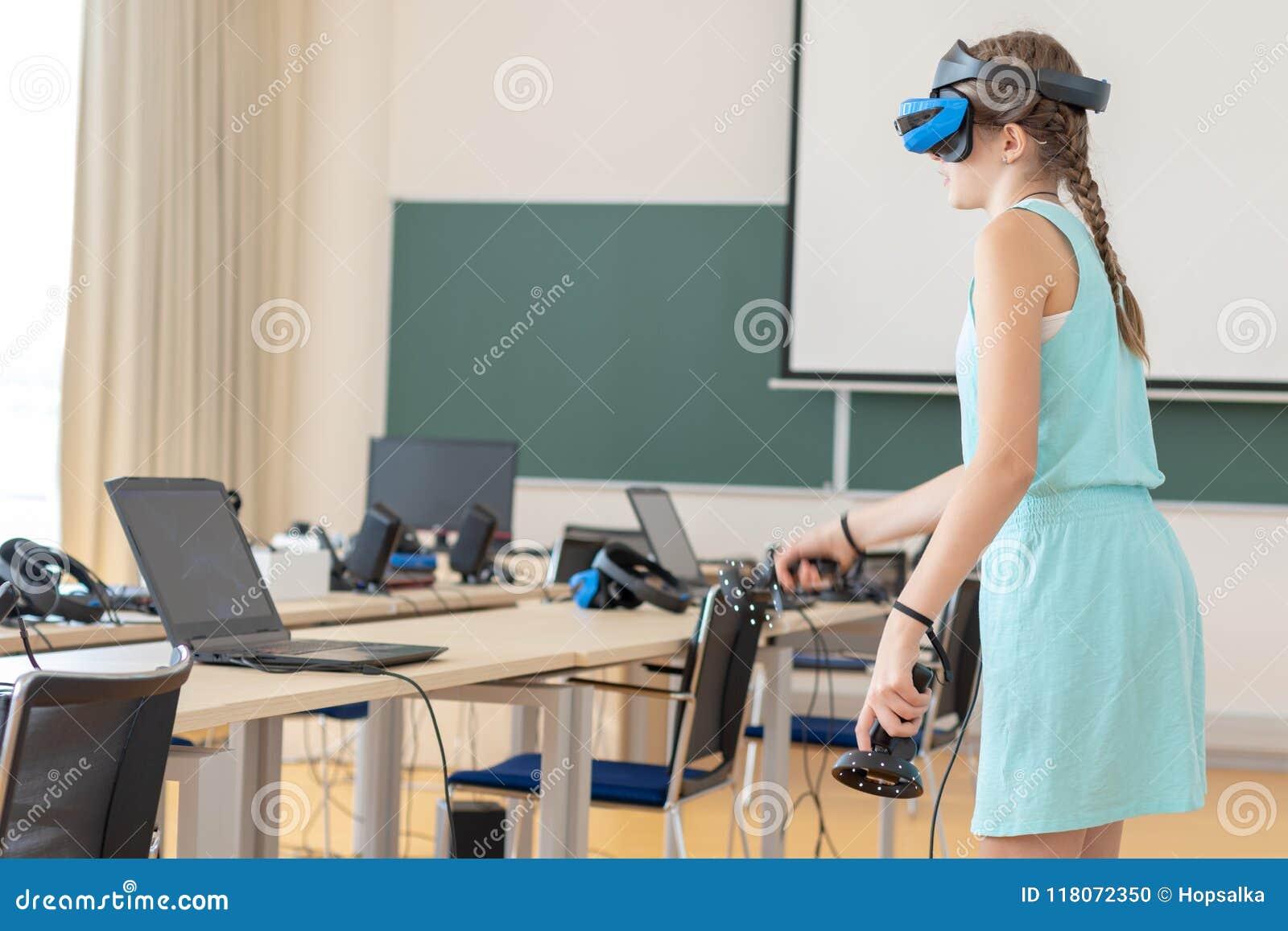 ea957a4657e1 Teen Girl Wearing VR Headset