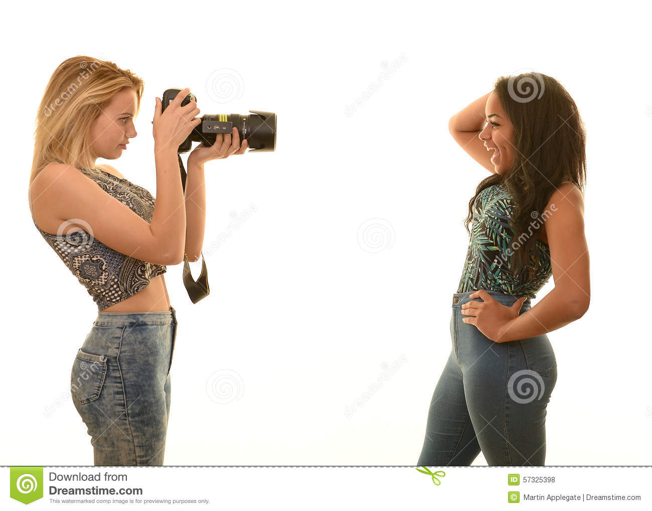 Teen girls playing with themselfs