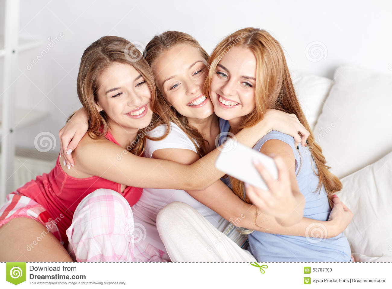 Teen girls with smartphone taking selfie at home stock photo image 63787700 - Teenager girl simple home ...