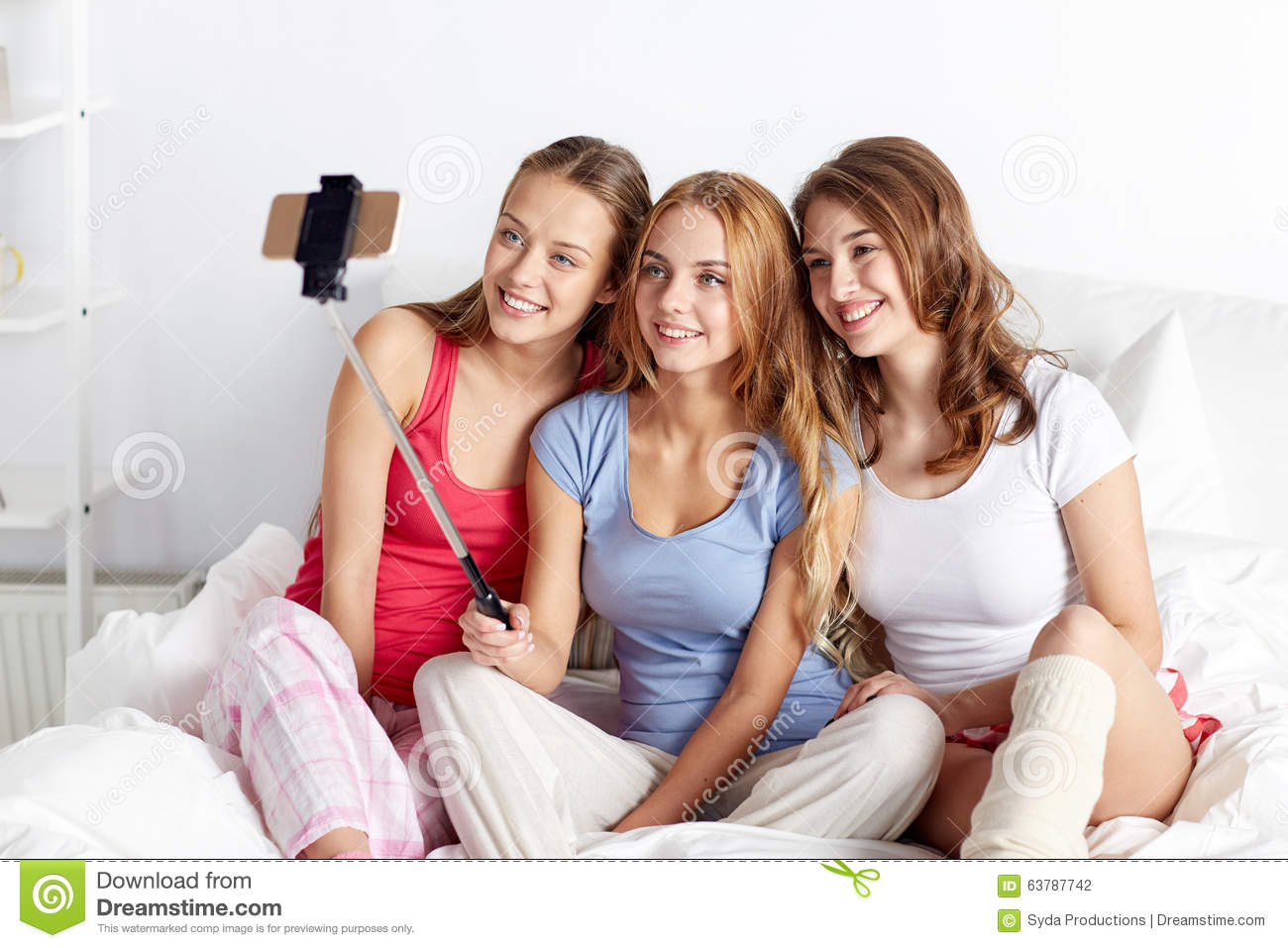 Teen girls with smartphone taking selfie at home stock photo image 63787742 - Teenager girl simple home ...