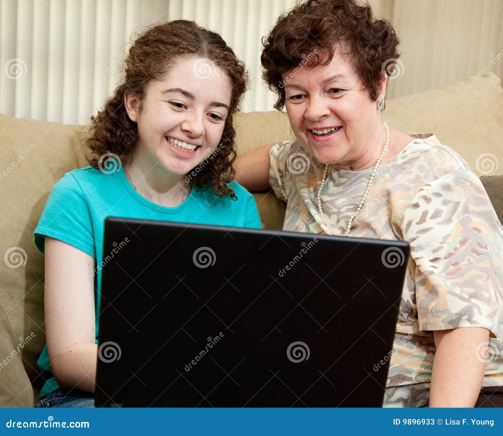 Girl. yeah teen using computer some spunk