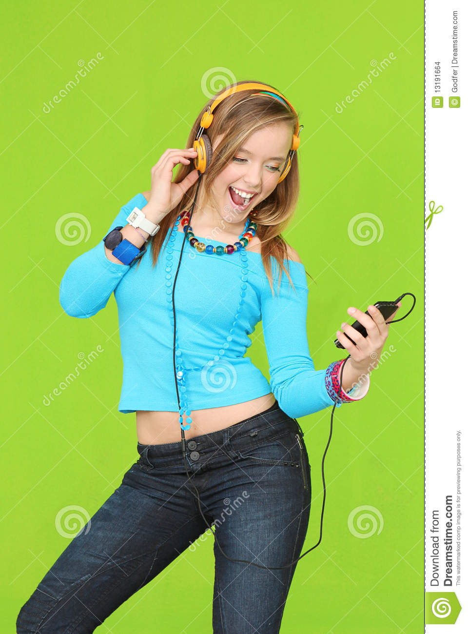 Girl Listening To Music Clipart