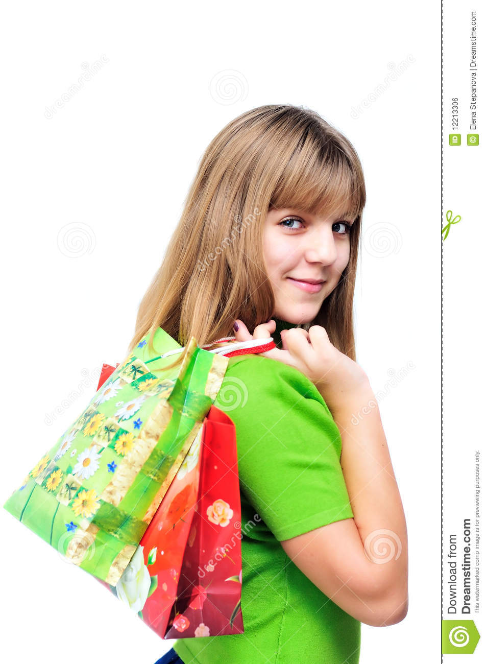 Happy Teen By Crumbling Wall Stock Image: Teen After Shopping Royalty Free Stock Image