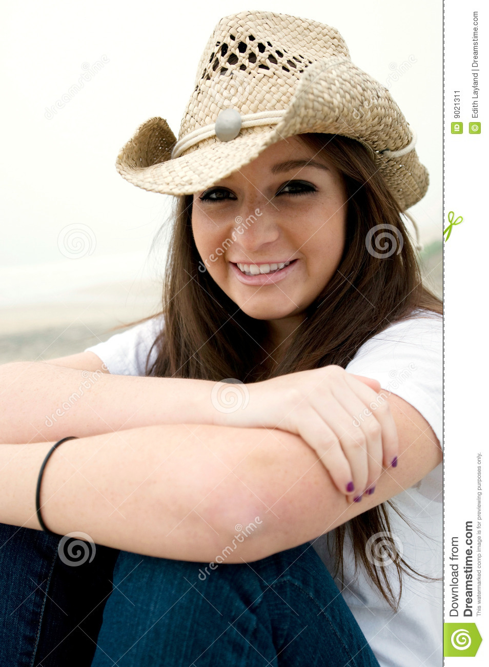 Teen In Western Hat stock image. Image of pretty, people