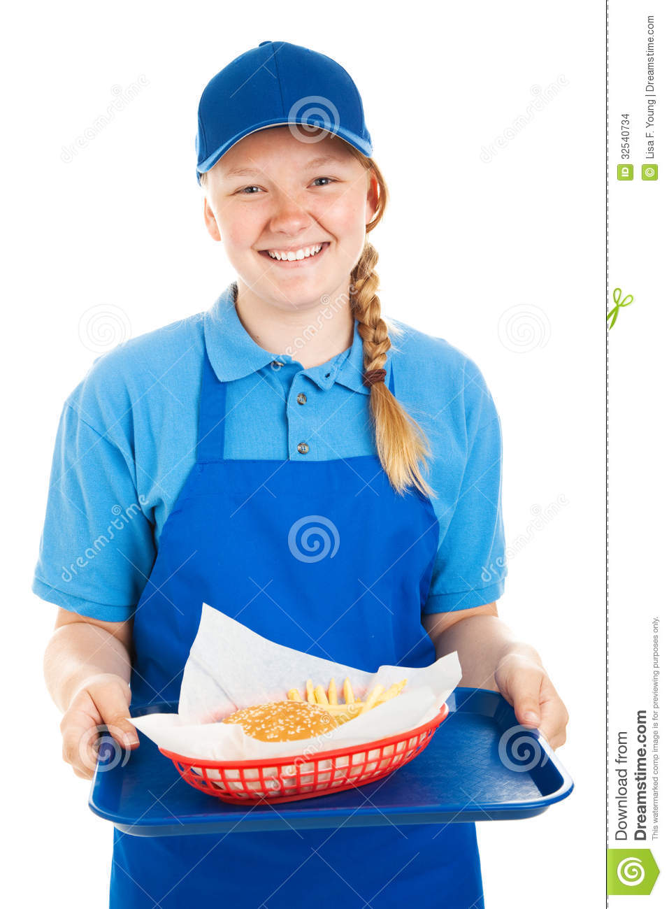 Teen Worker Serves Burger And Fries Stock Photo Image Of