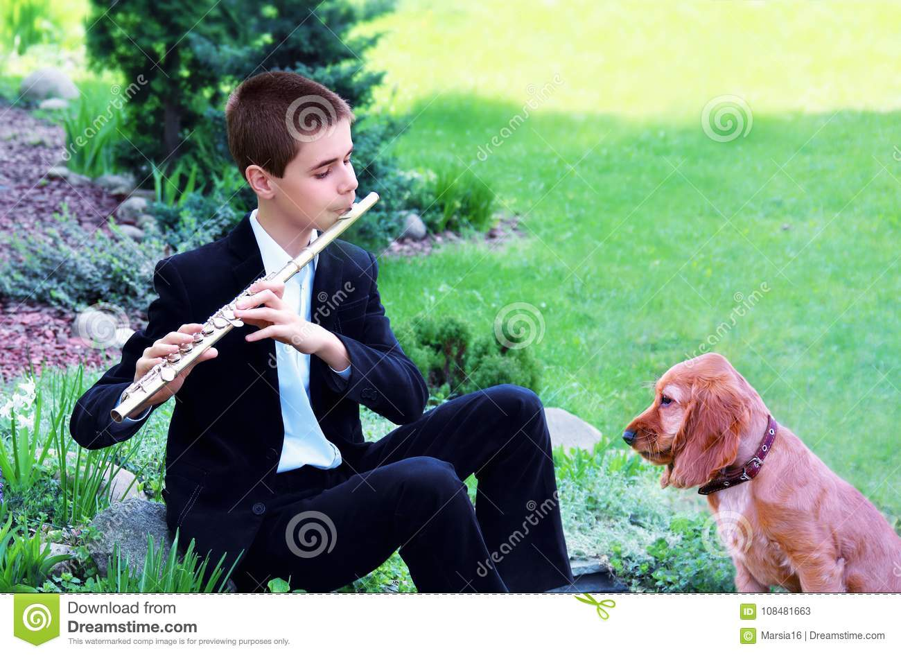 Teenage Boy with Flute and Dog