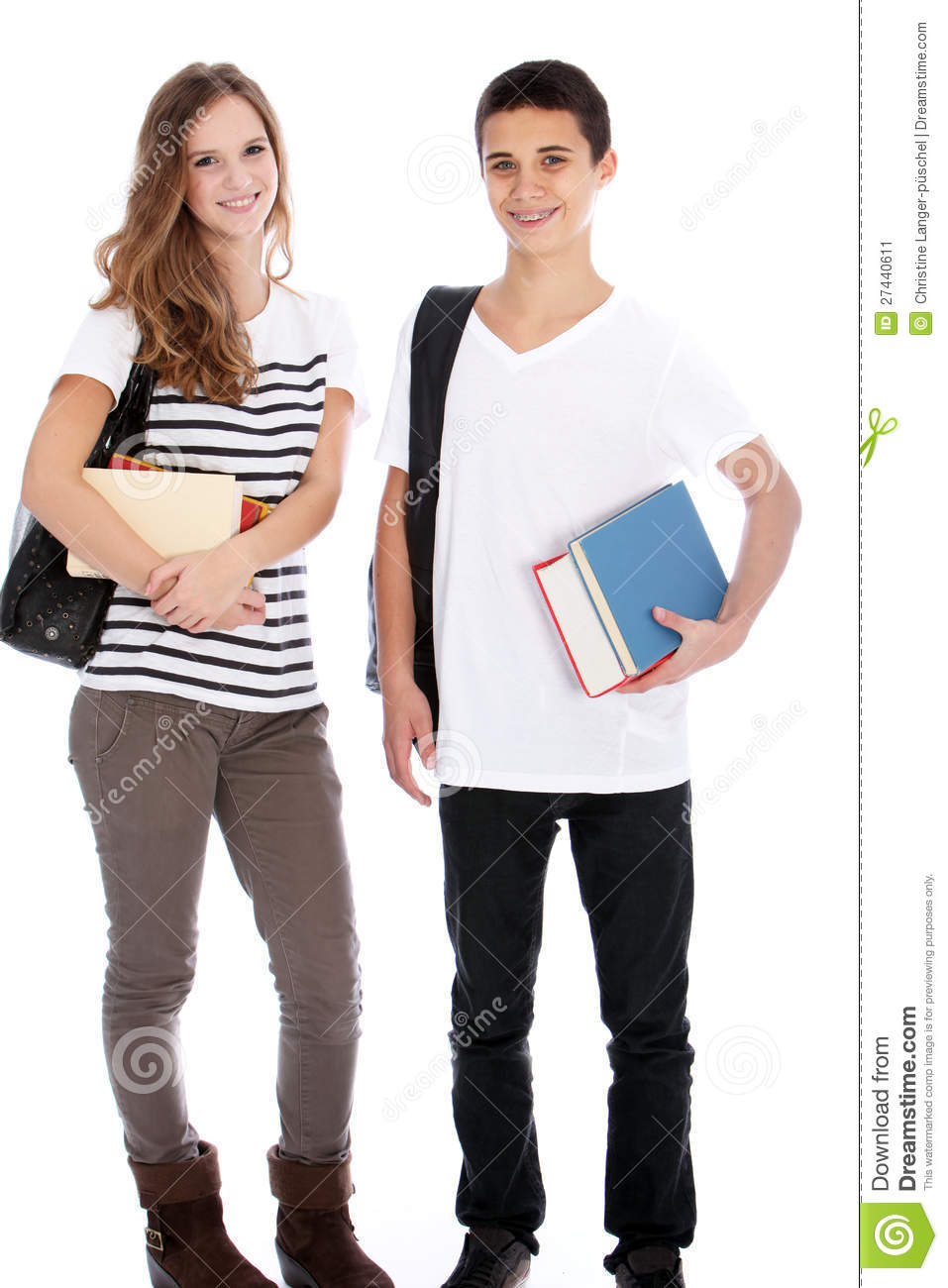 Teenage Boy And Girl With College Books Stock Image - Image: 27440611