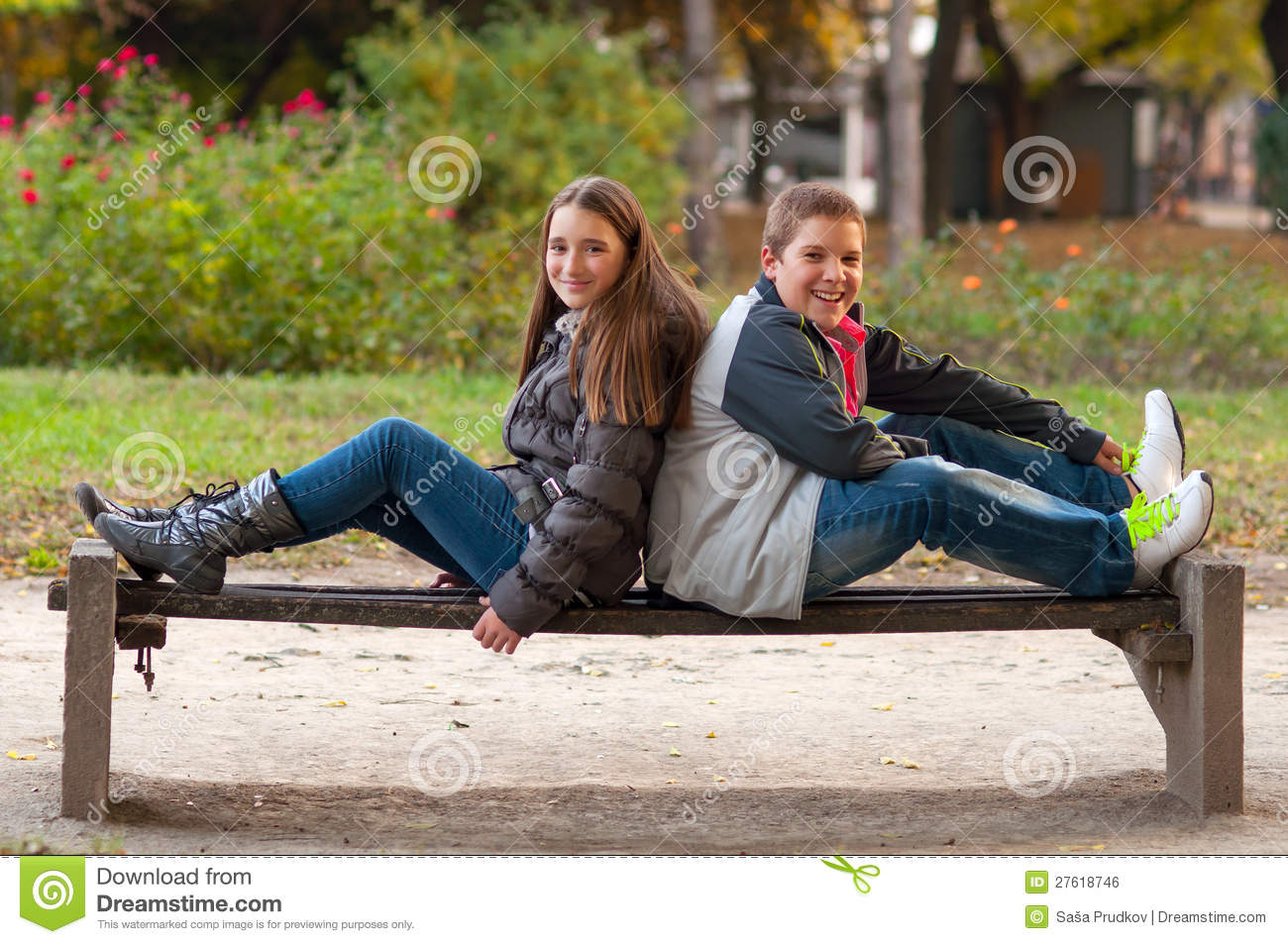 Girl and boy having fun