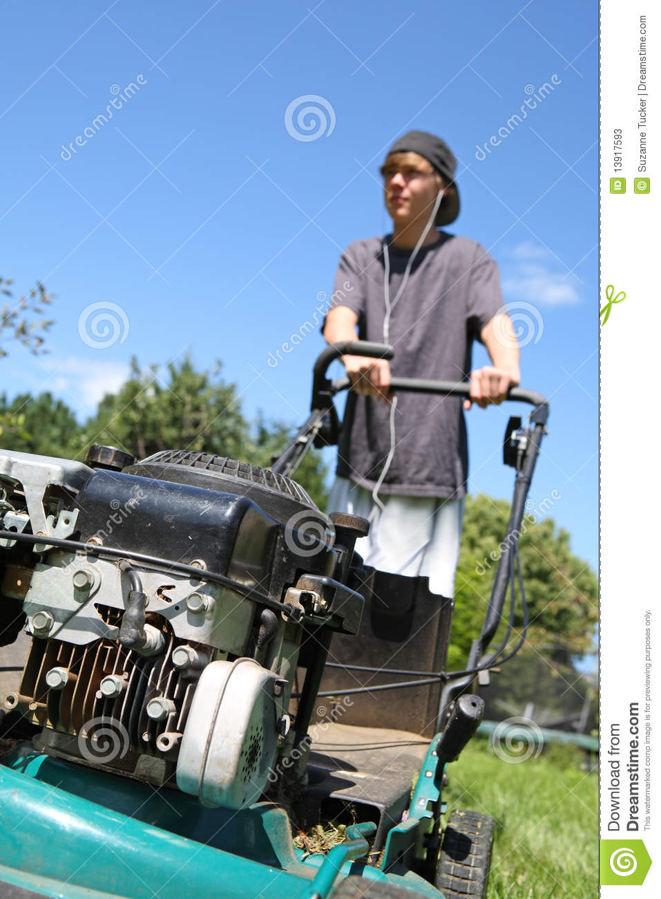 Teenage Boy Mowing Lawn Stock Image Image Of Child