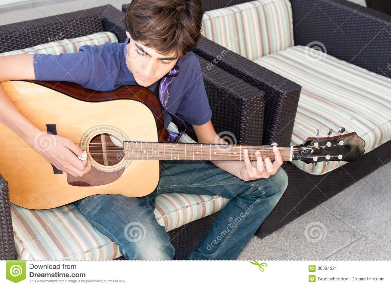 Teenage Boy Playing Acoustic Guitar Stock Image Image Of Male Caucasian 30634321