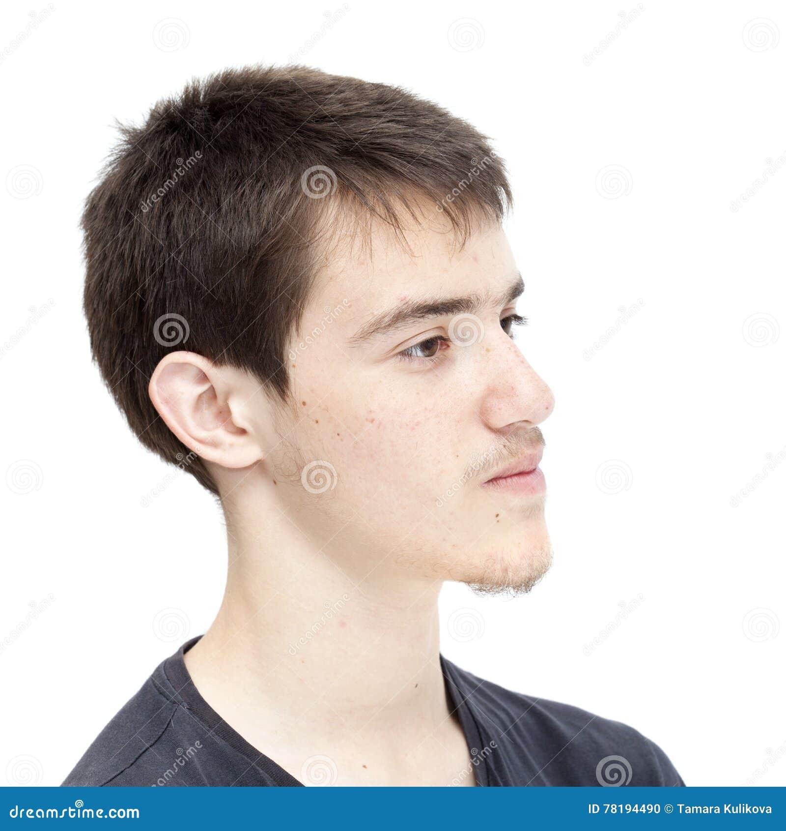 Teenage Boy With Short Dark Hair Stock Photo   Image of dark ...