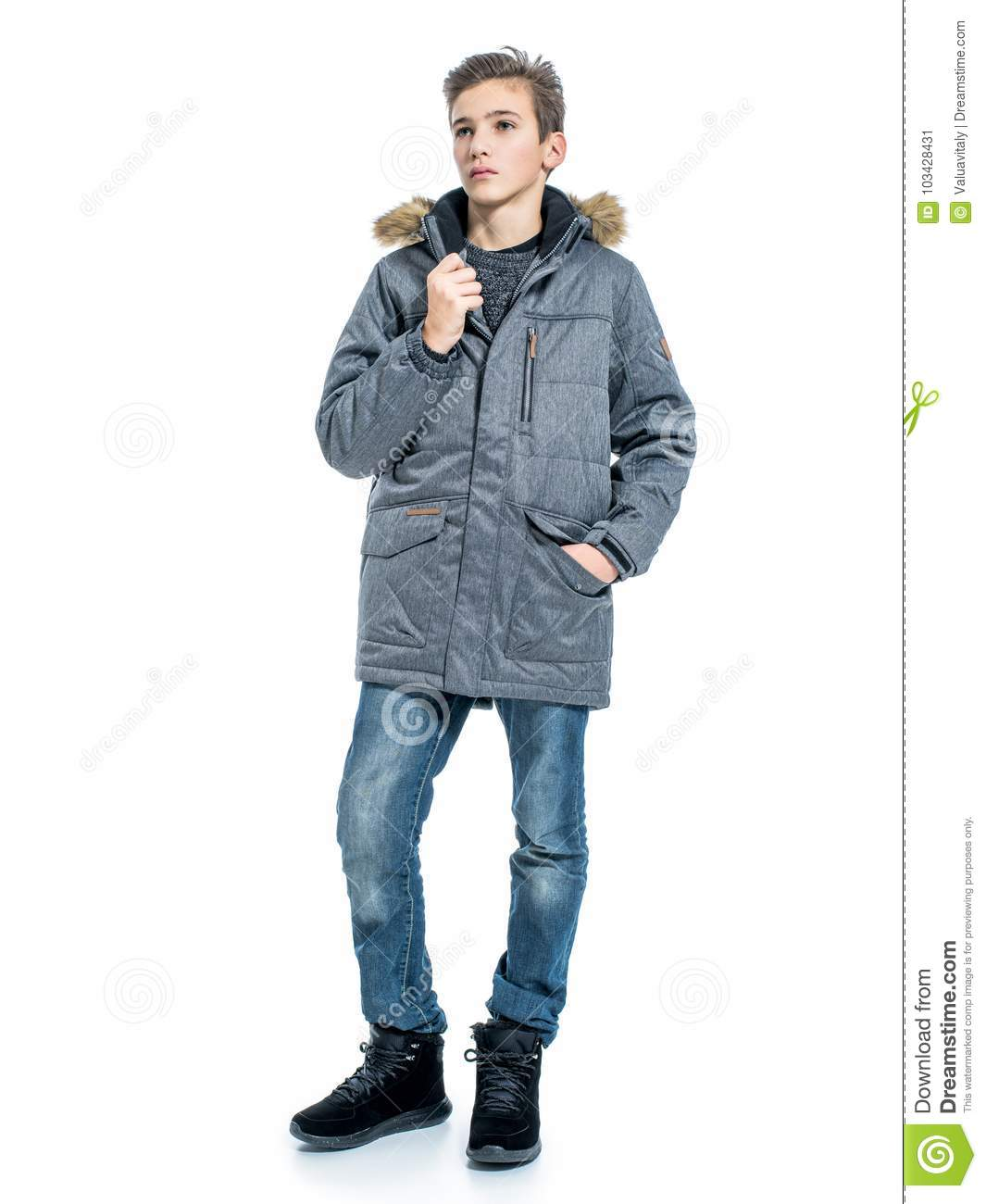 Teenage Boy In Winter Clothes Stock Image Image Of