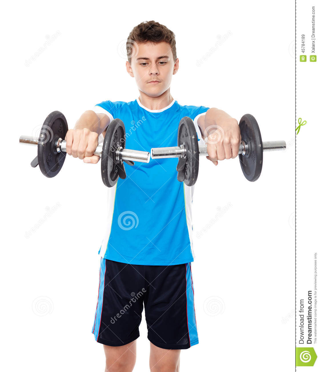 Teenage boy working out stock image. Image of fitness