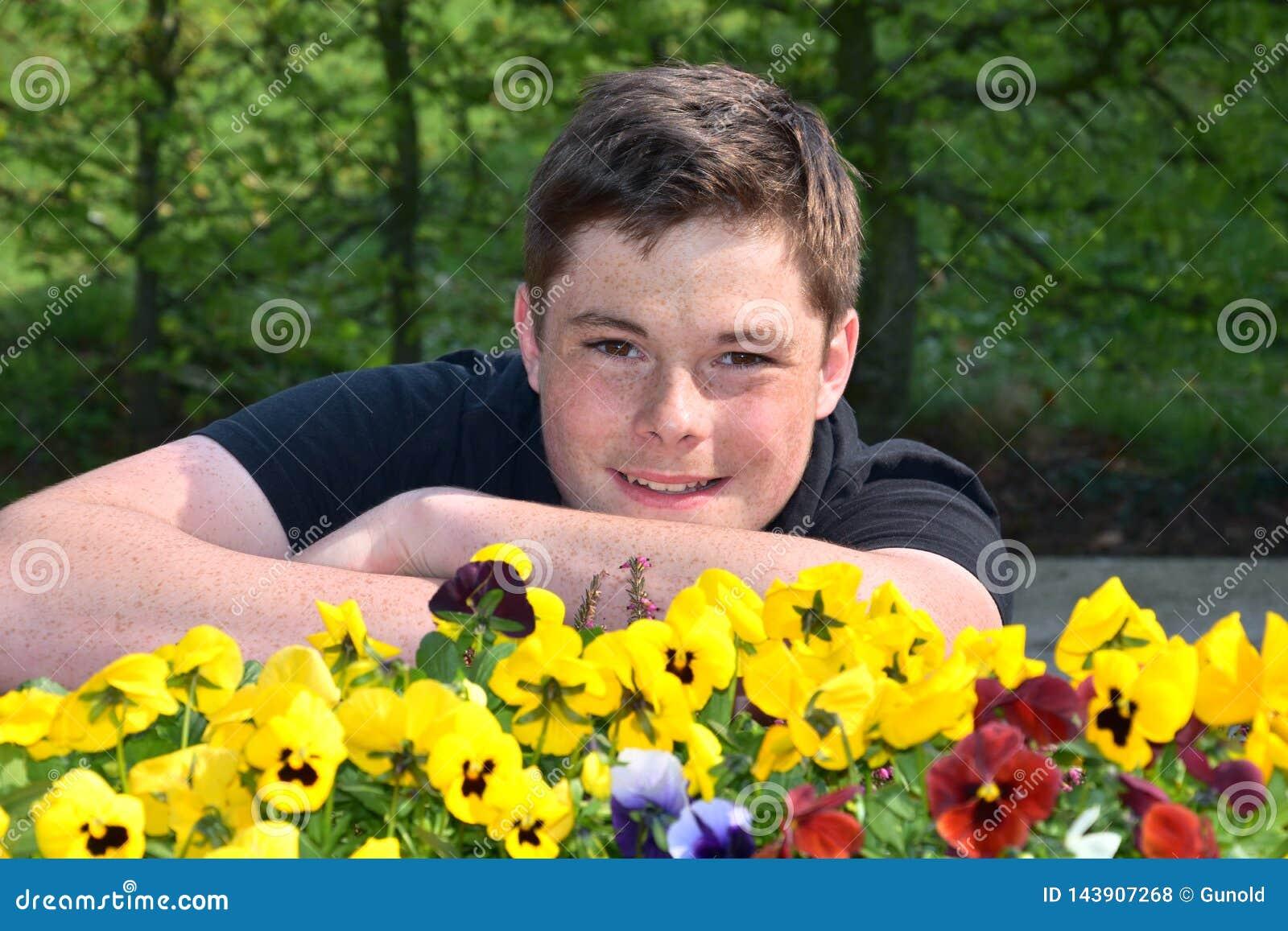 Teenage boy and yellow violas