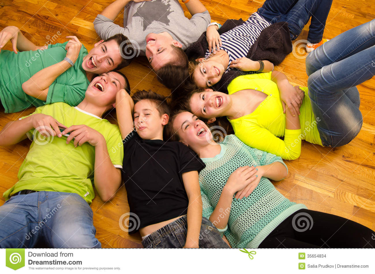 Teenage Boys And Girls Laughing Stock Photo Image Of Comfortable