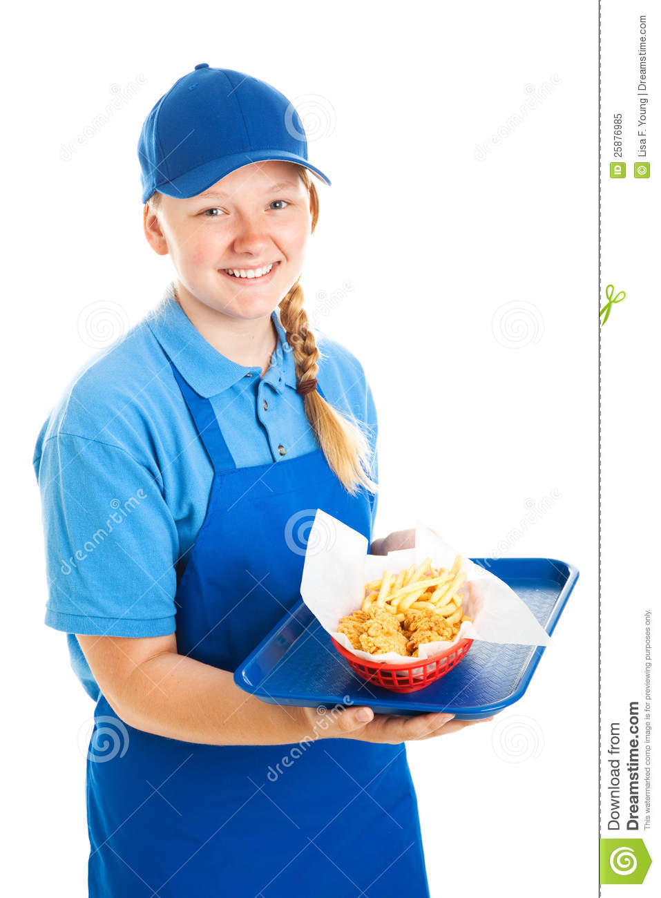 Fast food worker on her knees in the bathroom 7