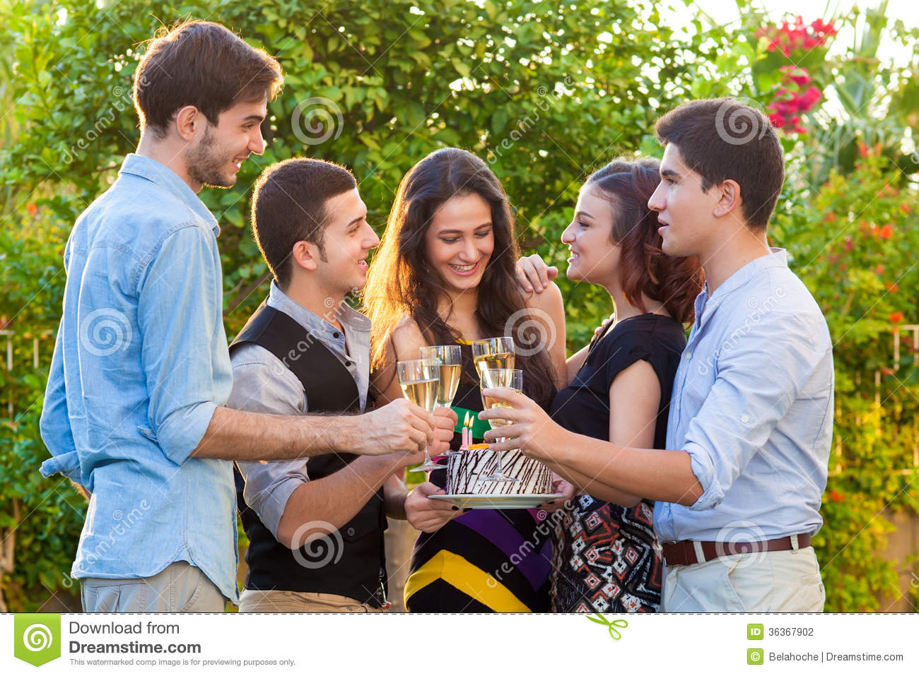 Teenage Friends Celebrating At A Birthday Party Stock Photography ...