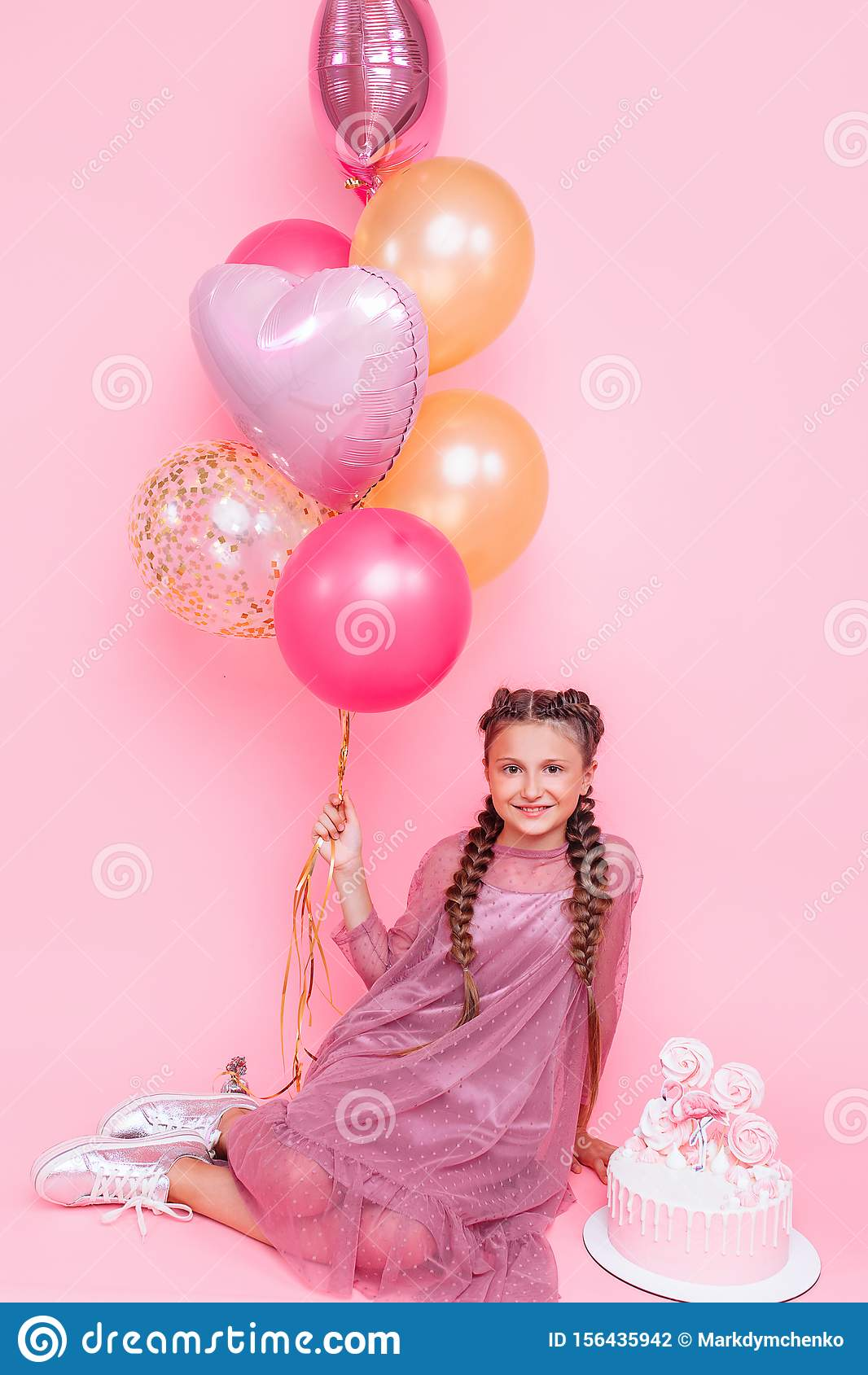 Awe Inspiring Teenage Girl With Balloons And A Birthday Cake Posing On A Pink Birthday Cards Printable Opercafe Filternl