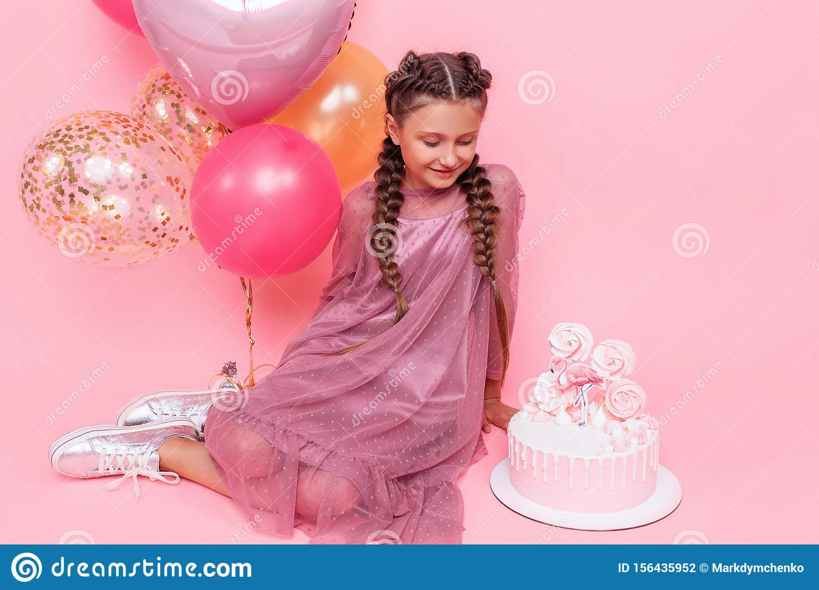 Stupendous Teenage Girl With Balloons And A Birthday Cake Posing On A Pink Funny Birthday Cards Online Overcheapnameinfo