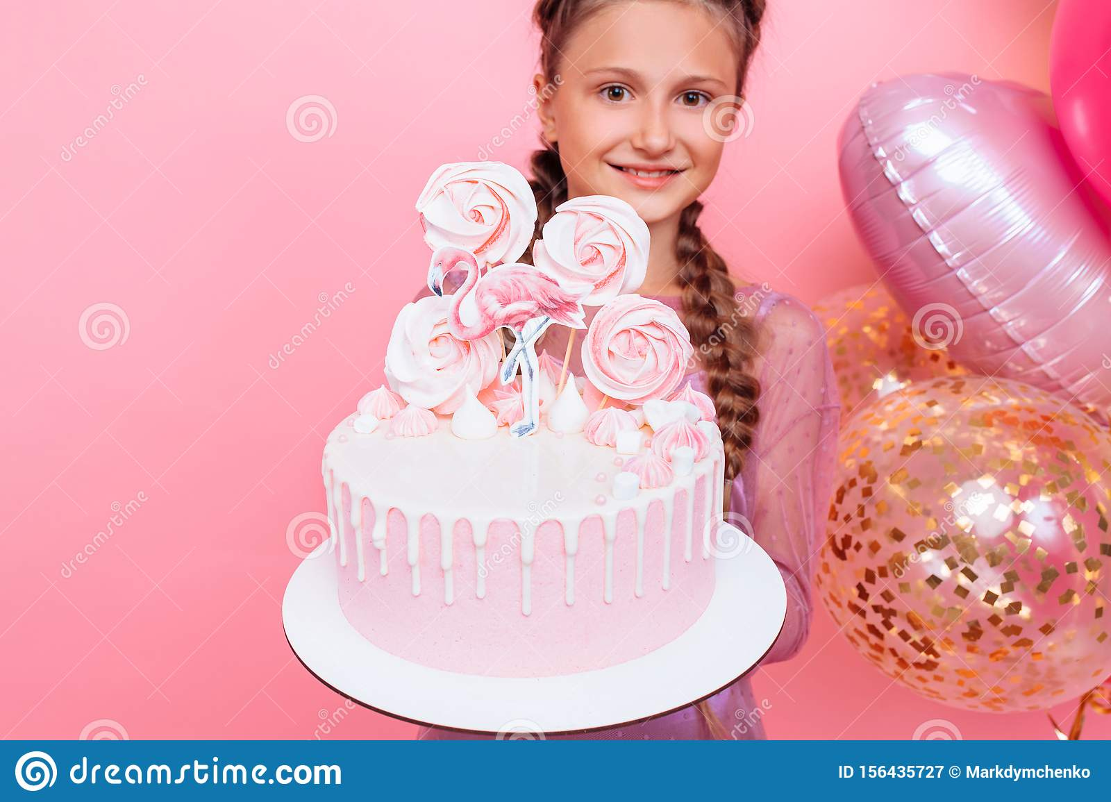 Brilliant A Teenage Girl With Balloons Holds A Cake In Her Hands On A Pink Birthday Cards Printable Opercafe Filternl