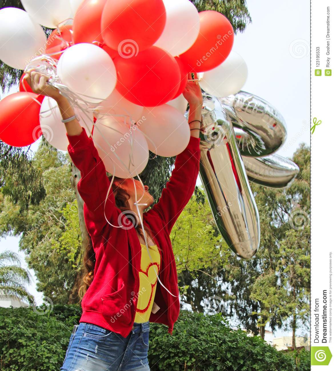 A Teenage Girl Sends Birthday Balloons To The Sky